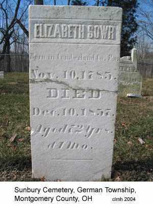 SOWR, ELIZABETH - Montgomery County, Ohio | ELIZABETH SOWR - Ohio Gravestone Photos