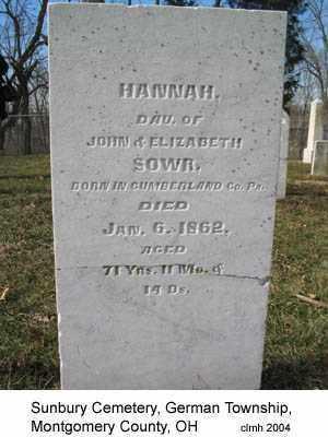 SOWR, HANNAH - Montgomery County, Ohio | HANNAH SOWR - Ohio Gravestone Photos