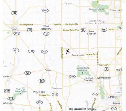 STIVER AKA HISEY CEMETERY, MAP - Montgomery County, Ohio | MAP STIVER AKA HISEY CEMETERY - Ohio Gravestone Photos