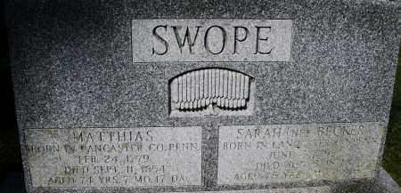 SWOPE, MATTHIAS - Montgomery County, Ohio | MATTHIAS SWOPE - Ohio Gravestone Photos