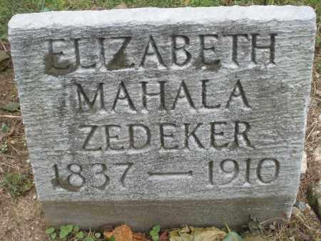 ZEDEKER, ELIZABETH MAHALA - Montgomery County, Ohio | ELIZABETH MAHALA ZEDEKER - Ohio Gravestone Photos