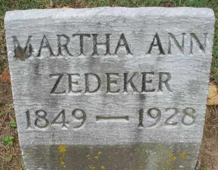 ZEDEKER, MARTHA ANN - Montgomery County, Ohio | MARTHA ANN ZEDEKER - Ohio Gravestone Photos