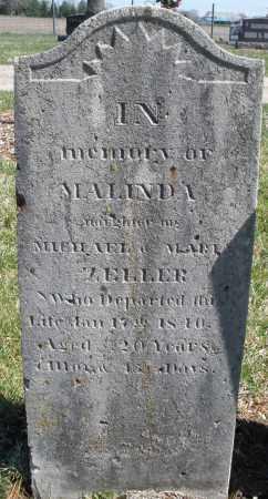 ZELLER, MALINDA - Montgomery County, Ohio | MALINDA ZELLER - Ohio Gravestone Photos