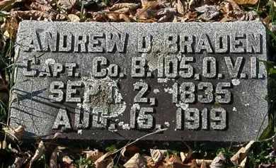 BRADEN, ANDREW D. - Morrow County, Ohio | ANDREW D. BRADEN - Ohio Gravestone Photos