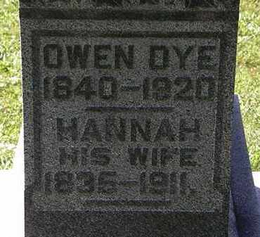 DYE, HANNAH - Morrow County, Ohio | HANNAH DYE - Ohio Gravestone Photos