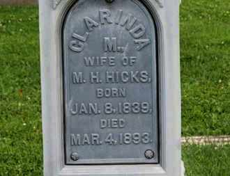 HICKS, CLARINDA - Morrow County, Ohio | CLARINDA HICKS - Ohio Gravestone Photos