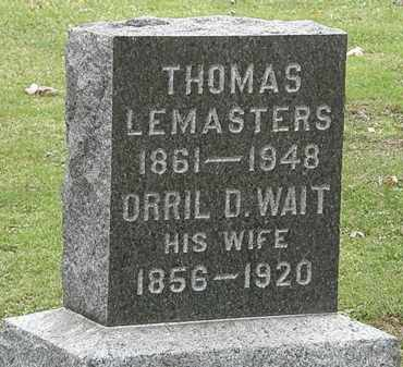 WAIT LEMASTERS, ORRIL D. - Morrow County, Ohio | ORRIL D. WAIT LEMASTERS - Ohio Gravestone Photos