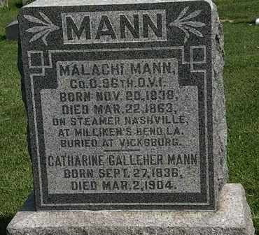 MANN, CATHARINE - Morrow County, Ohio | CATHARINE MANN - Ohio Gravestone Photos