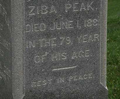 PEAK, ZIBA - Morrow County, Ohio | ZIBA PEAK - Ohio Gravestone Photos