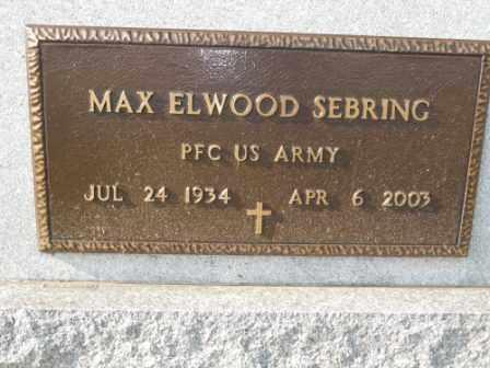 SEBRING, MAX ELWOOD - Morrow County, Ohio | MAX ELWOOD SEBRING - Ohio Gravestone Photos