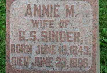 SINGER, ANNIE M. - Morrow County, Ohio | ANNIE M. SINGER - Ohio Gravestone Photos