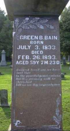 BAIN, GREEN B. - Muskingum County, Ohio | GREEN B. BAIN - Ohio Gravestone Photos