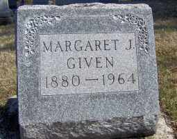 GIVEN, MARGARET J - Muskingum County, Ohio | MARGARET J GIVEN - Ohio Gravestone Photos
