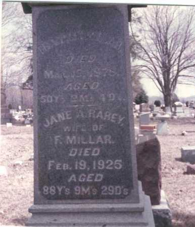 RAREY MILLAR, JANE A - Pickaway County, Ohio | JANE A RAREY MILLAR - Ohio Gravestone Photos