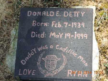 DETTY, DONALD E - Pike County, Ohio | DONALD E DETTY - Ohio Gravestone Photos