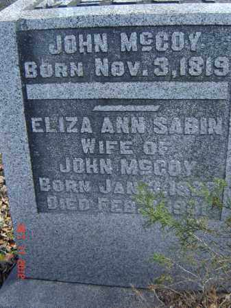 SABIN MCCOY, ELIZA - Pike County, Ohio | ELIZA SABIN MCCOY - Ohio Gravestone Photos