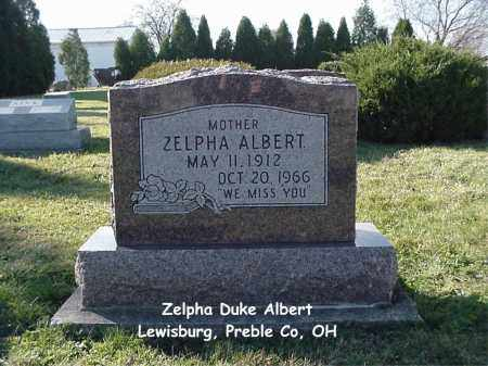DUKE ALBERT, ZELPHA - Preble County, Ohio | ZELPHA DUKE ALBERT - Ohio Gravestone Photos