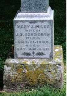 MILES ASHWORTH, MARY J. - Preble County, Ohio | MARY J. MILES ASHWORTH - Ohio Gravestone Photos