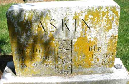 ASKINS, BEN - Preble County, Ohio | BEN ASKINS - Ohio Gravestone Photos