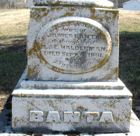 HALDERMAN BANTA, ELIZA JANE - Preble County, Ohio | ELIZA JANE HALDERMAN BANTA - Ohio Gravestone Photos
