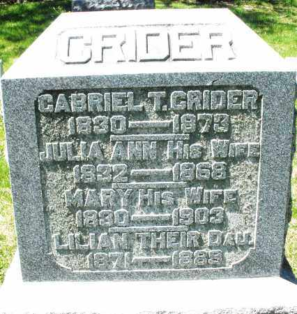CRIDER, JULIA ANN - Preble County, Ohio | JULIA ANN CRIDER - Ohio Gravestone Photos