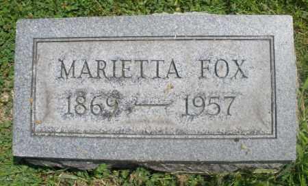 FOX, MARIETTA - Preble County, Ohio | MARIETTA FOX - Ohio Gravestone Photos