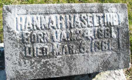 HASELTINE, HANNAH - Preble County, Ohio | HANNAH HASELTINE - Ohio Gravestone Photos