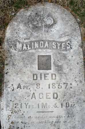 SYES, MALINDA - Preble County, Ohio | MALINDA SYES - Ohio Gravestone Photos