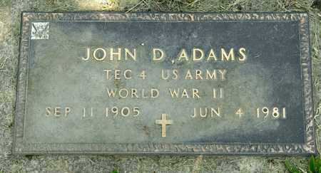 ADAMS, JOHN D - Richland County, Ohio | JOHN D ADAMS - Ohio Gravestone Photos