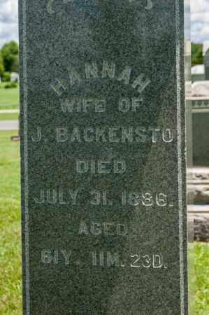 BACKENSTO, HANNAH - Richland County, Ohio | HANNAH BACKENSTO - Ohio Gravestone Photos