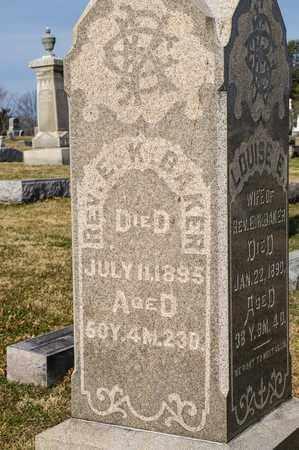 BAKER, E K - Richland County, Ohio   E K BAKER - Ohio Gravestone Photos