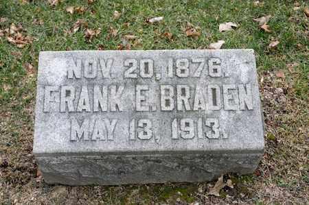 BRADEN, FRANK E - Richland County, Ohio | FRANK E BRADEN - Ohio Gravestone Photos