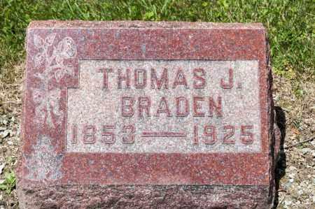 BRADEN, THOMAS J - Richland County, Ohio | THOMAS J BRADEN - Ohio Gravestone Photos