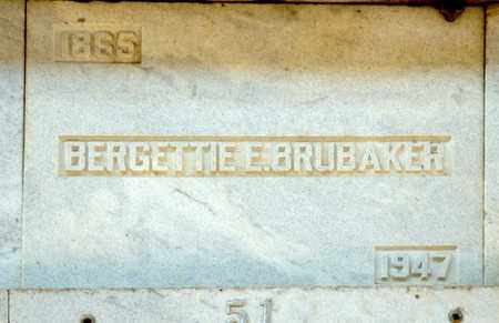 BRUBAKER, BERGETTIE E - Richland County, Ohio | BERGETTIE E BRUBAKER - Ohio Gravestone Photos