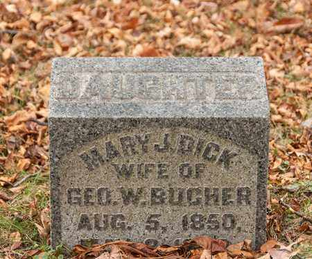 BUCHER, MARY J - Richland County, Ohio | MARY J BUCHER - Ohio Gravestone Photos