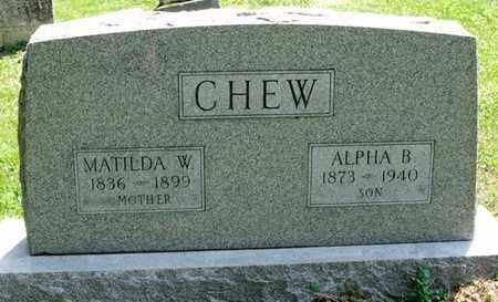 CHEW, MATILDA W - Richland County, Ohio | MATILDA W CHEW - Ohio Gravestone Photos