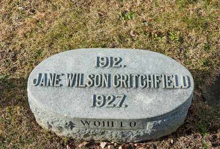 WILSON CRITCHFIELD, JANE - Richland County, Ohio | JANE WILSON CRITCHFIELD - Ohio Gravestone Photos