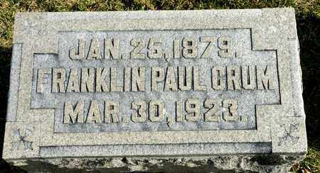 CRUM, FRANKLIN PAUL - Richland County, Ohio | FRANKLIN PAUL CRUM - Ohio Gravestone Photos