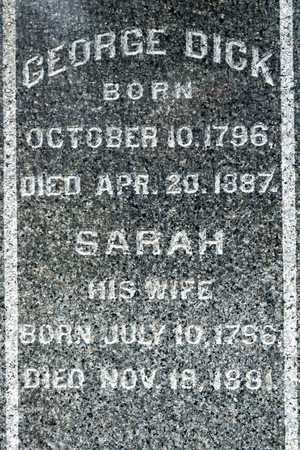 DICK, SARAH - Richland County, Ohio | SARAH DICK - Ohio Gravestone Photos