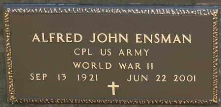 ENSMAN, ALFRED JOHN - Richland County, Ohio | ALFRED JOHN ENSMAN - Ohio Gravestone Photos