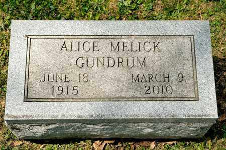 MELICK GUNDRUM, ALICE - Richland County, Ohio | ALICE MELICK GUNDRUM - Ohio Gravestone Photos