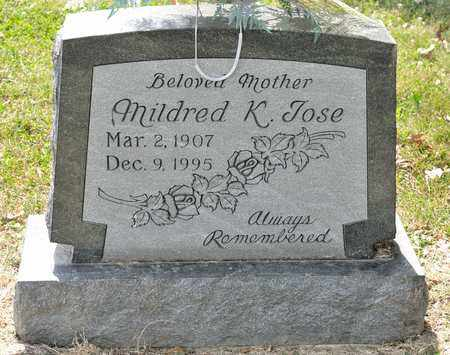 JOSE, MILDRED K - Richland County, Ohio | MILDRED K JOSE - Ohio Gravestone Photos