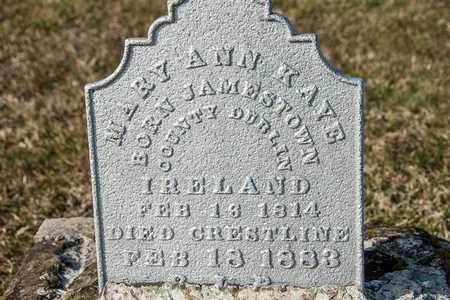 KAYE, MARY ANN - Richland County, Ohio | MARY ANN KAYE - Ohio Gravestone Photos