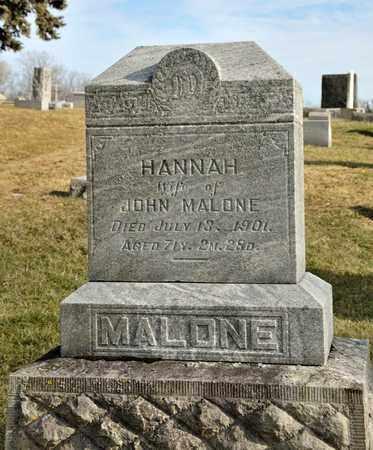 MALONE, HANNAH - Richland County, Ohio | HANNAH MALONE - Ohio Gravestone Photos