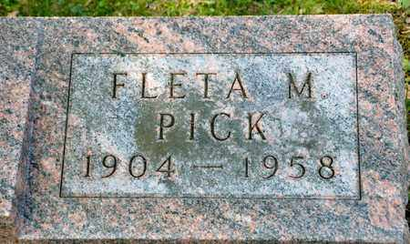 PICK, FLETA M - Richland County, Ohio | FLETA M PICK - Ohio Gravestone Photos