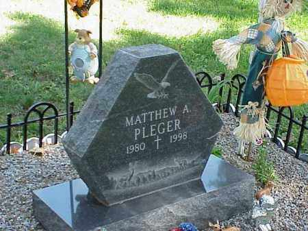 PLEGER, MATTHEW A. - Richland County, Ohio | MATTHEW A. PLEGER - Ohio Gravestone Photos