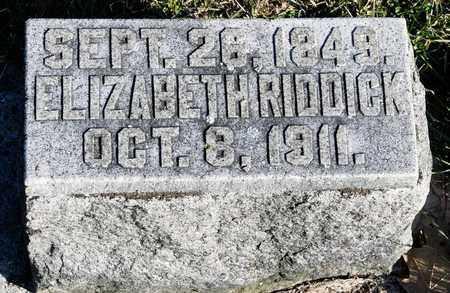 RIDDICK, ELIZABETH - Richland County, Ohio | ELIZABETH RIDDICK - Ohio Gravestone Photos