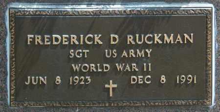 RUCKMAN, FREDERICK D - Richland County, Ohio | FREDERICK D RUCKMAN - Ohio Gravestone Photos