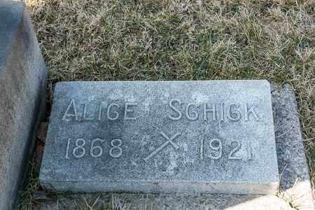 SCHICK, ALICE - Richland County, Ohio | ALICE SCHICK - Ohio Gravestone Photos
