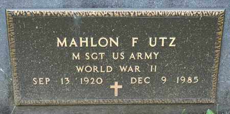 UTZ, MAHLON F - Richland County, Ohio | MAHLON F UTZ - Ohio Gravestone Photos